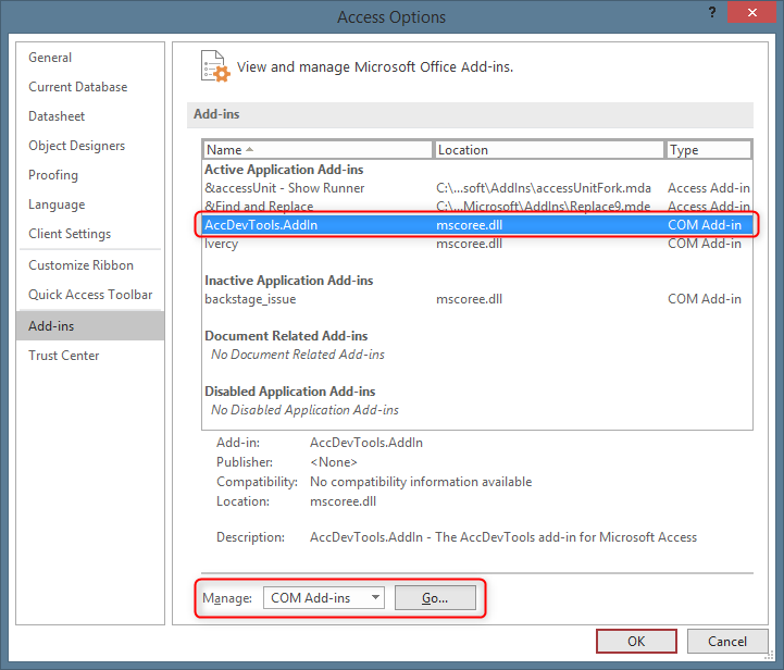 Options dialog in Access showing list of Add-ins