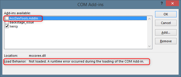 """COM Add-ins dialog showing the """"Not loaded. A runtime error occurred during the loading of the COM Add-in."""" error message"""